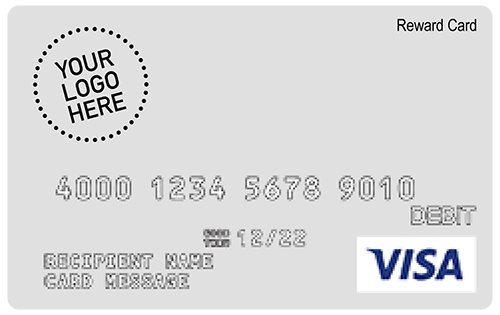 Branded reward cards include your logo on a Visa or Mastercard